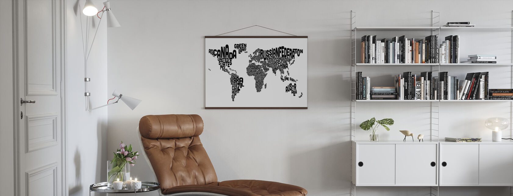 Typographic Text World Map Black - Poster - Living Room