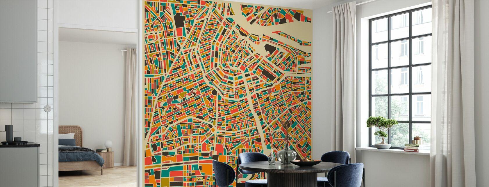 Mehrfarbige Karte - Amsterdam - Tapete - Küchen