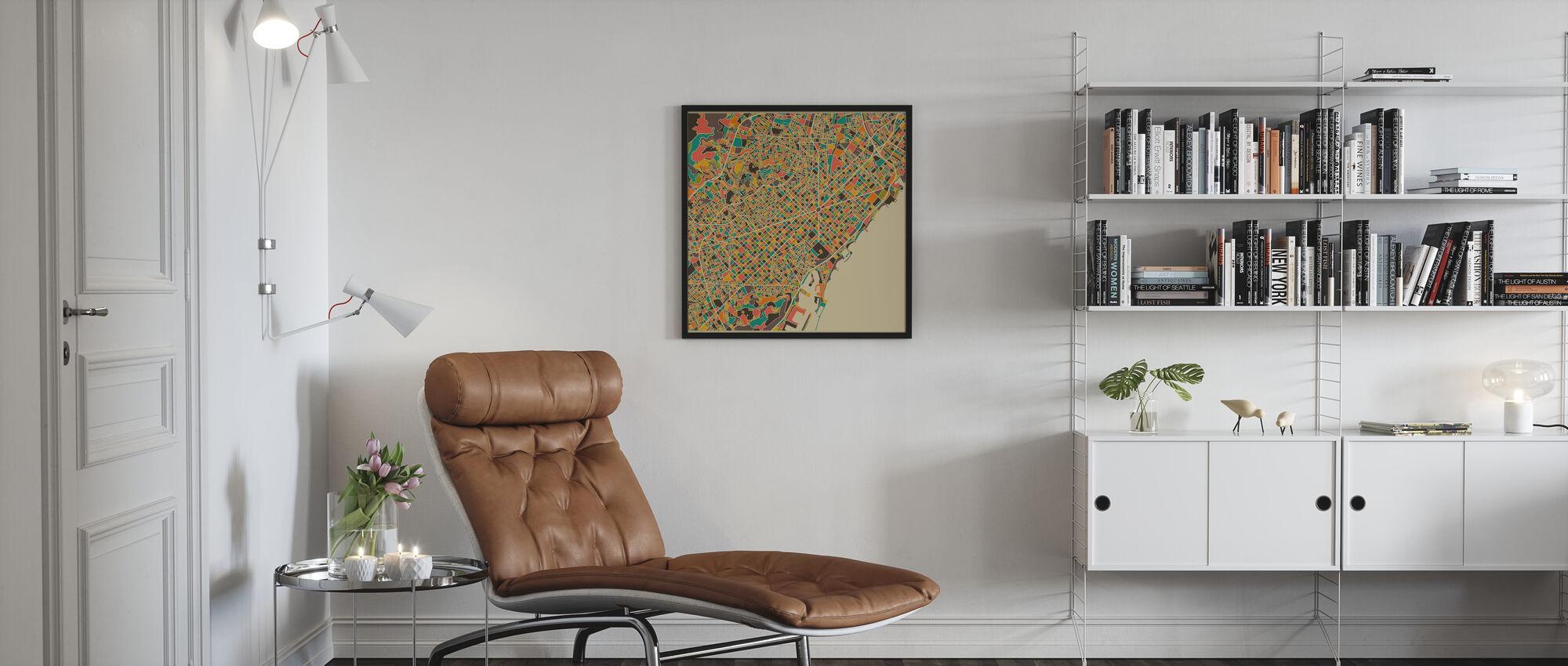 Multicolor Map - Barcelona - Innrammet bilde - Stue