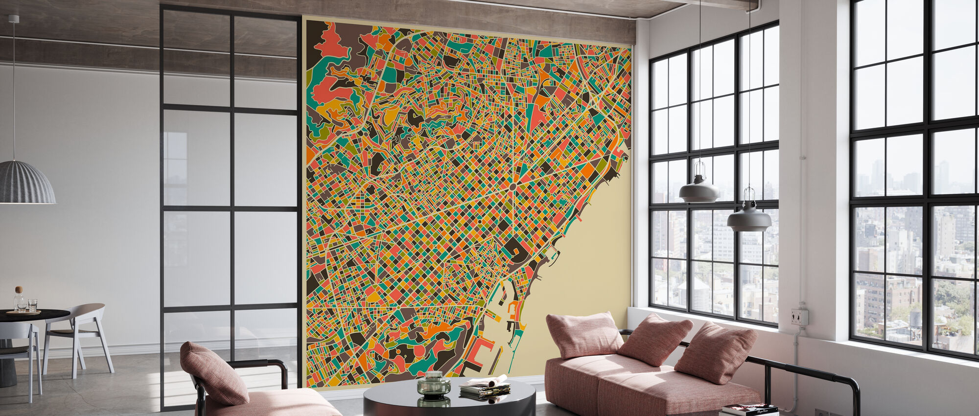 Multicolor Map - Barcelona - Wallpaper - Office