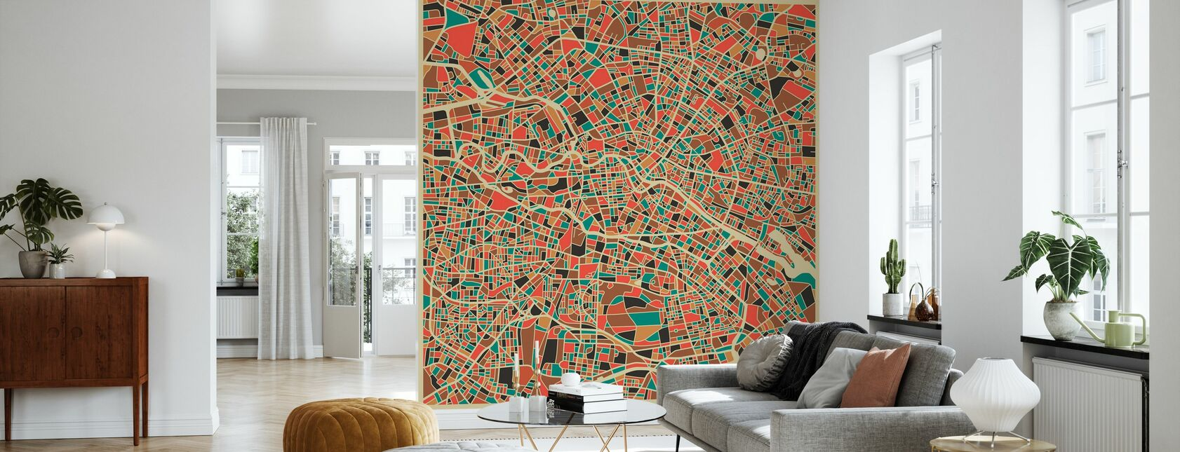 Multicolor Map - Berlin - Wallpaper - Living Room
