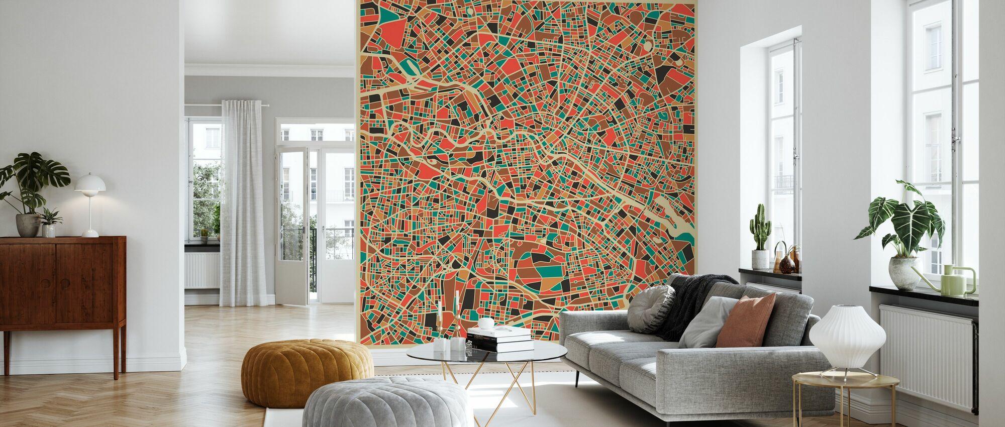 Multicolor Map - Berlin - Wallpaper - Living Room