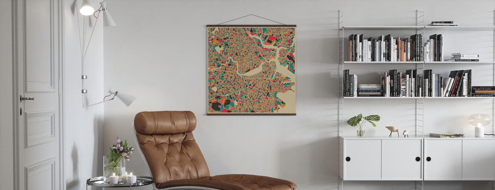 Multicolor Kaart - Boston - Poster - Woonkamer
