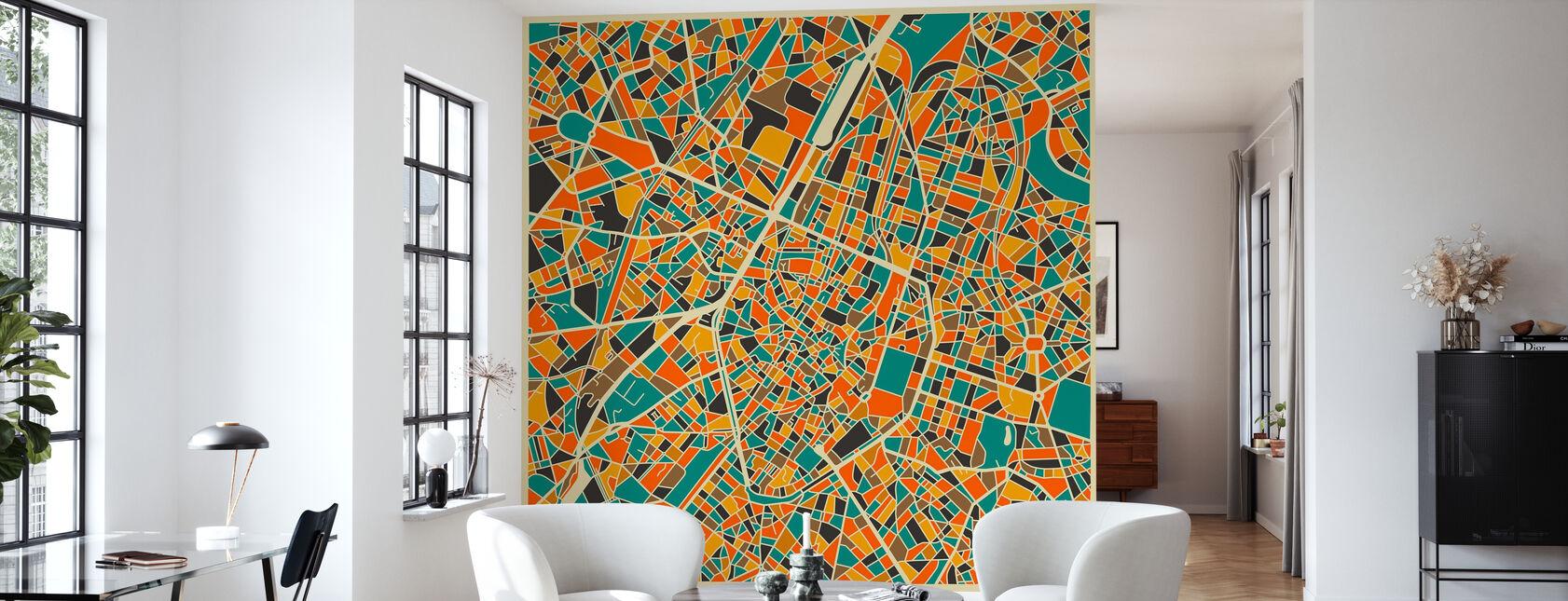 Multicolor Kaart - Brussel - Behang - Woonkamer