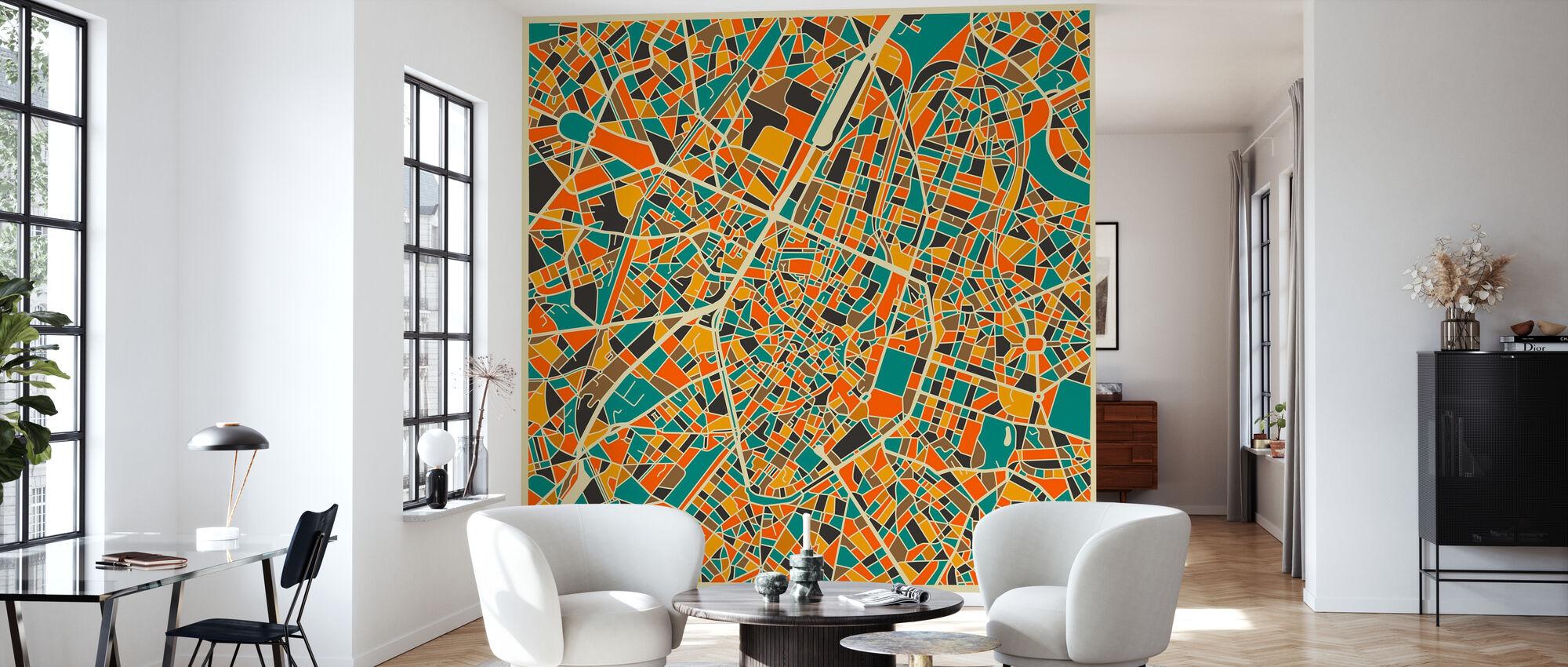 Multicolor Map - Brussels - Wallpaper - Living Room