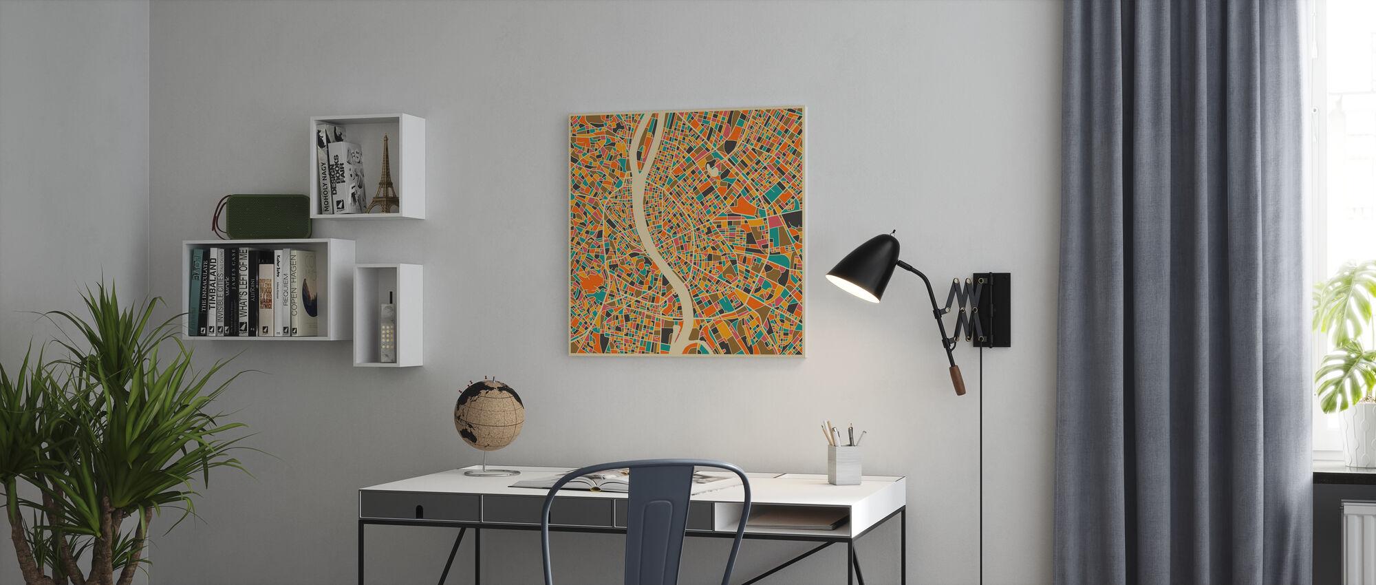 Mehrfarbige Karte - Budapest - Leinwandbild - Büro