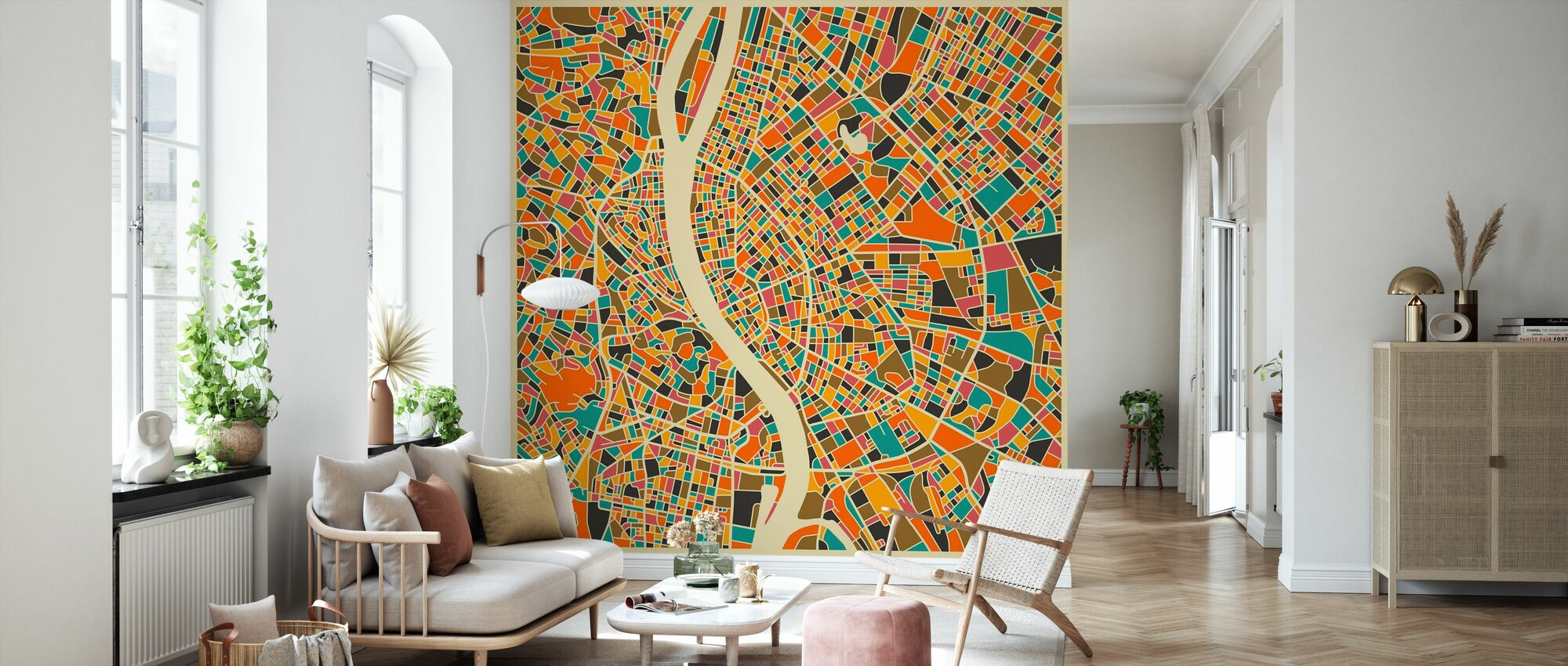 Multicolor Map - Budapest - Wallpaper - Living Room