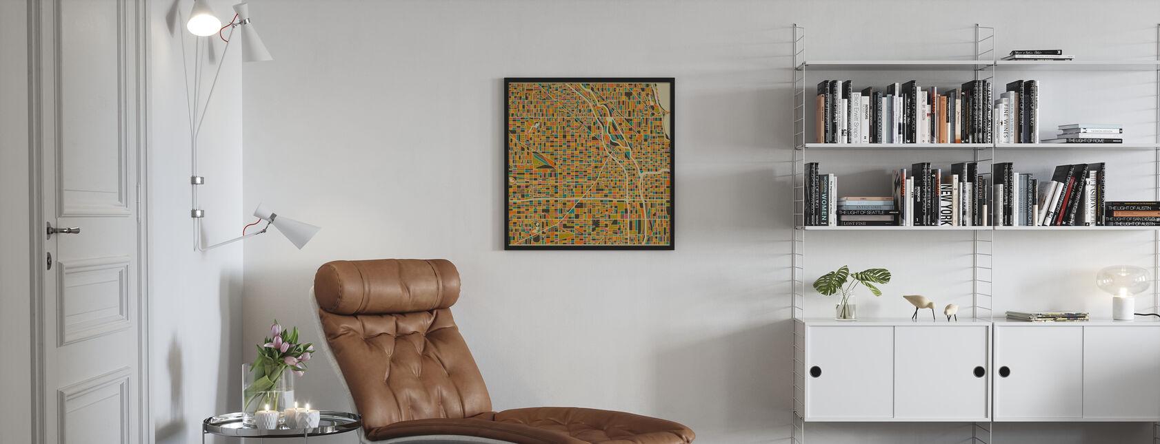 Multicolor Kartta - Chicago - Kehystetty kuva - Olohuone
