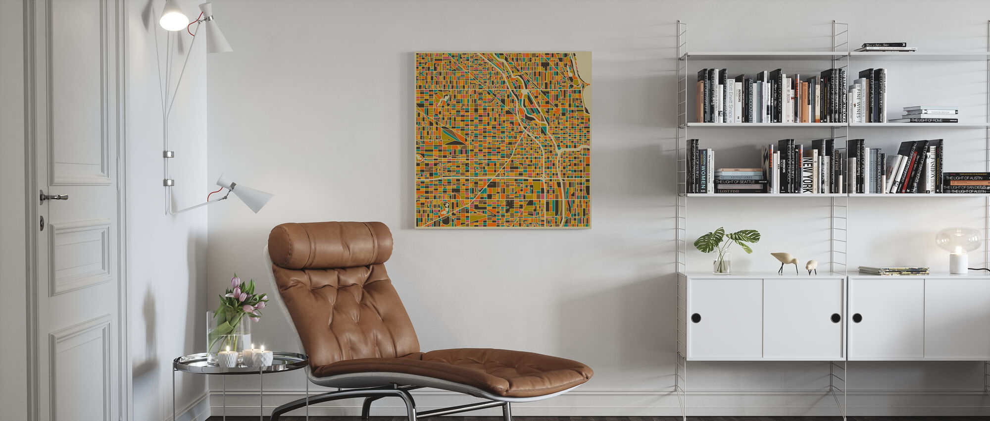 Multicolor Map - Chicago - Canvas print - Living Room