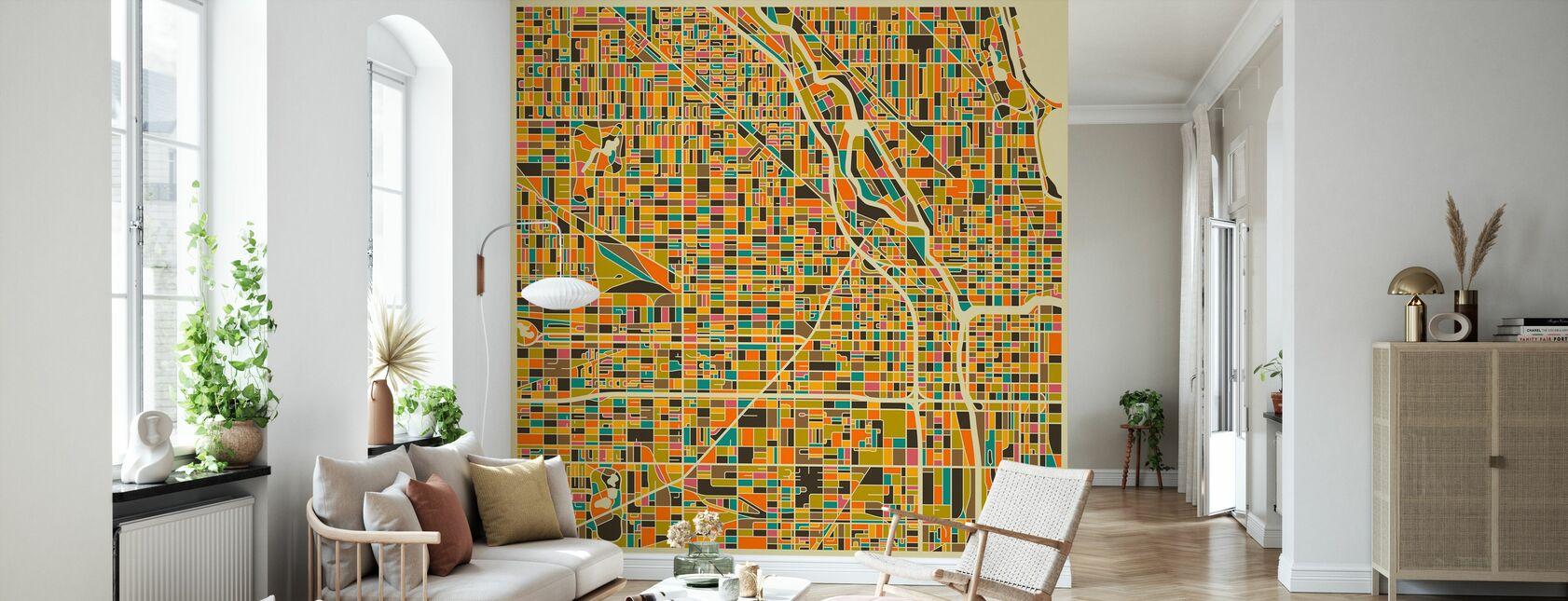 Flerfarget kart - Chicago - Tapet - Stue