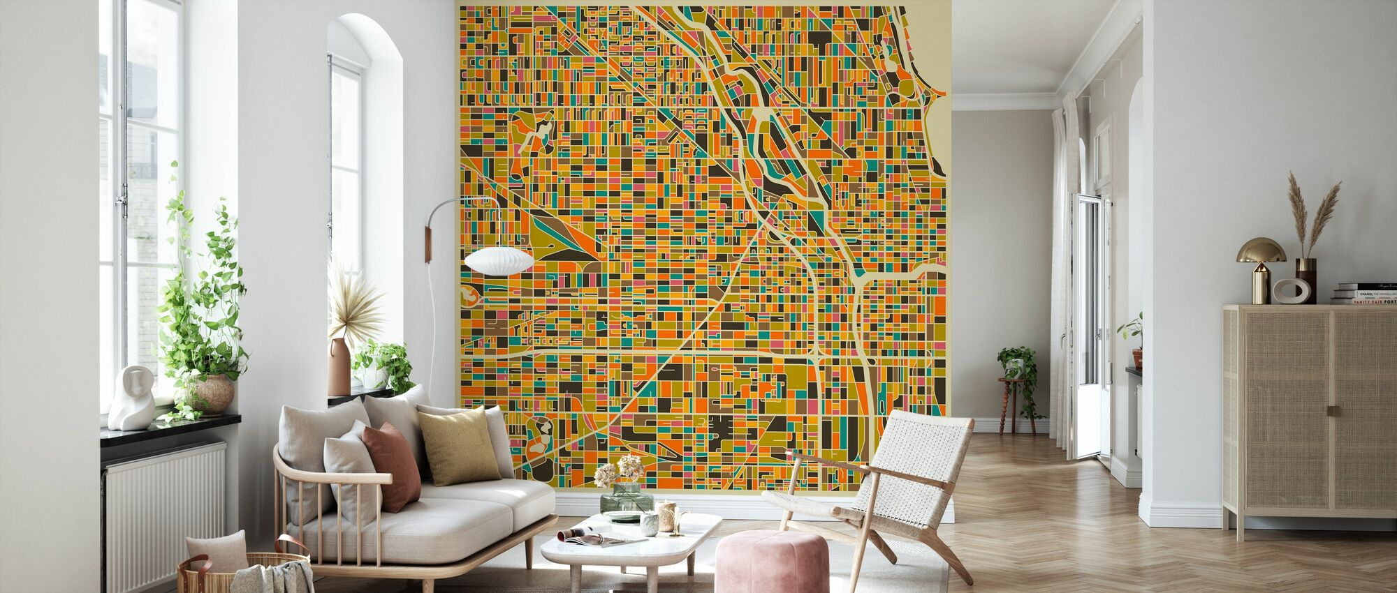 Multicolor Map - Chicago - Wallpaper - Living Room