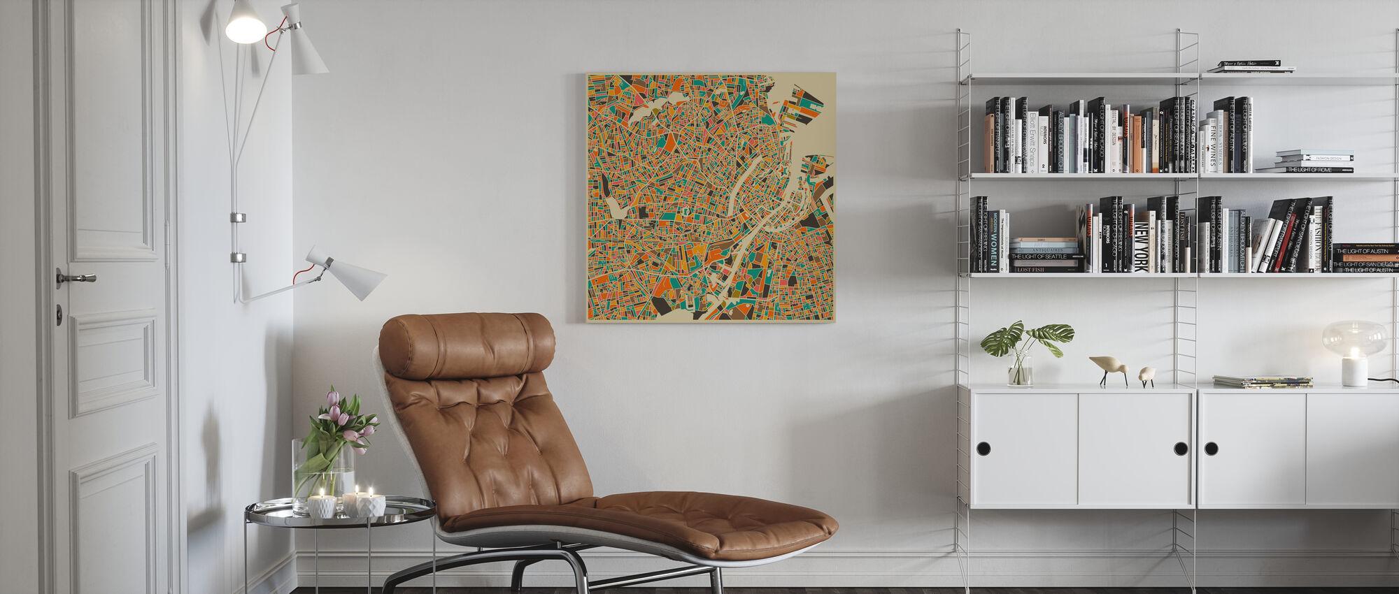 Karta över Multicolor - Köpenhamn - Canvastavla - Vardagsrum