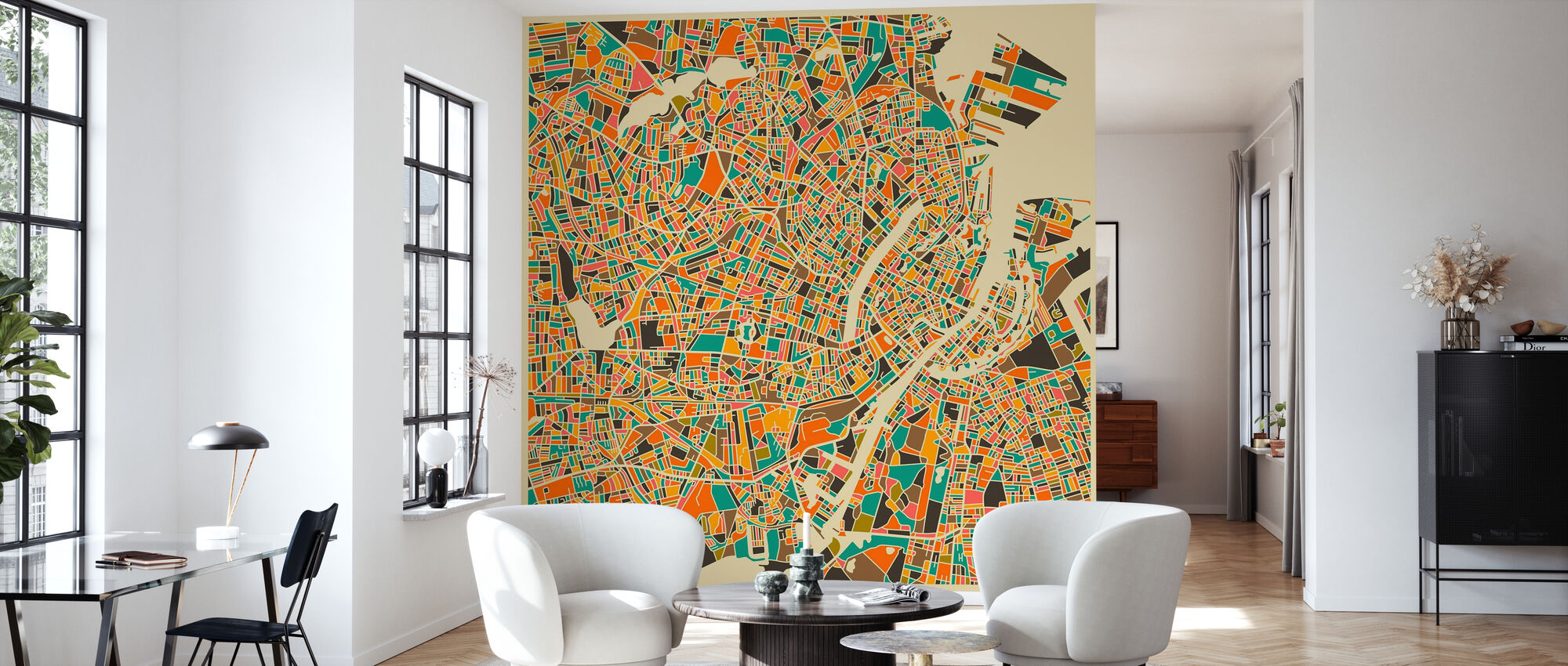 Multicolor Map - Copenhagen - Wallpaper - Living Room