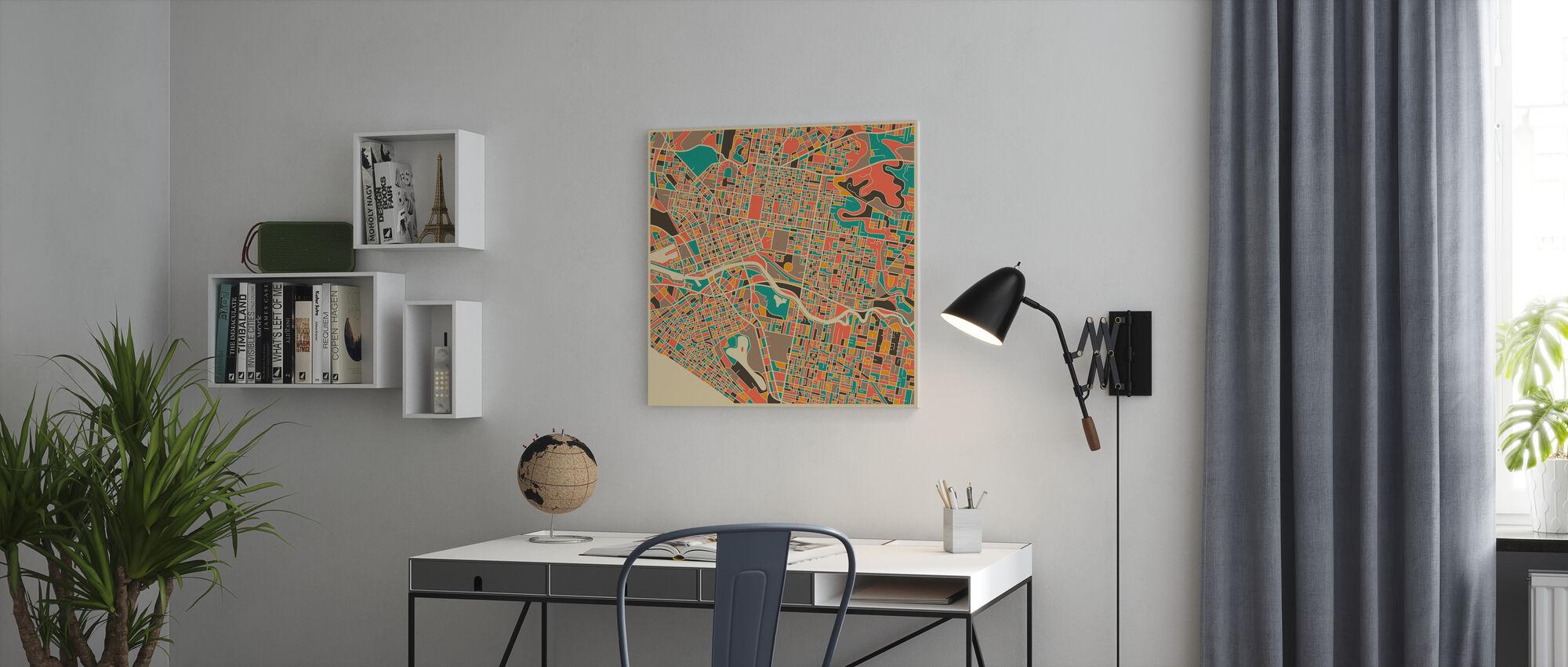 Karta över Multicolor - Melbourne - Canvastavla - Kontor