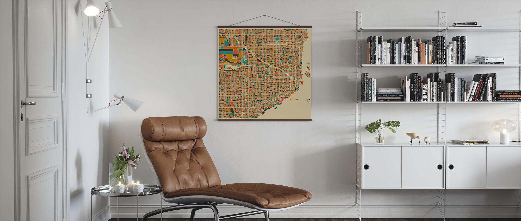 Multicolor Map - Miami - Poster - Living Room