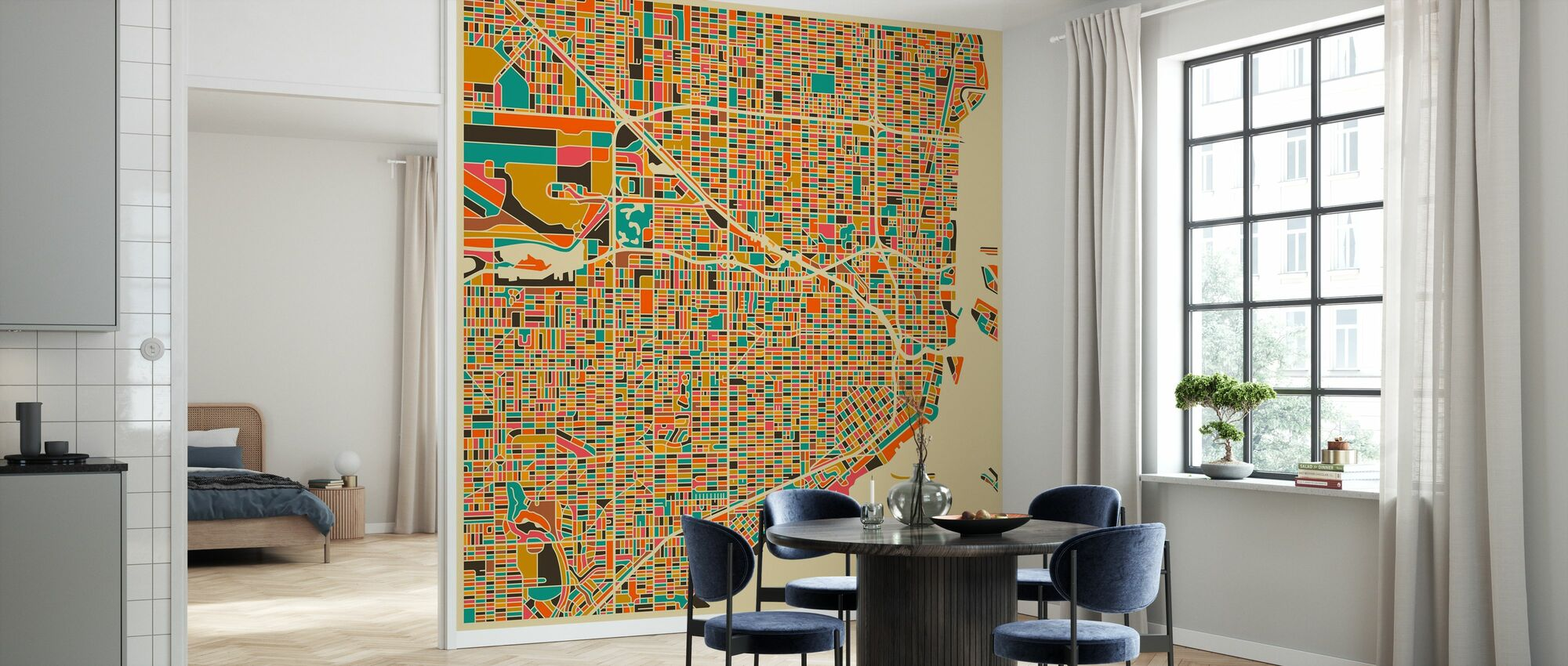 Multicolor Map - Miami - Wallpaper - Kitchen