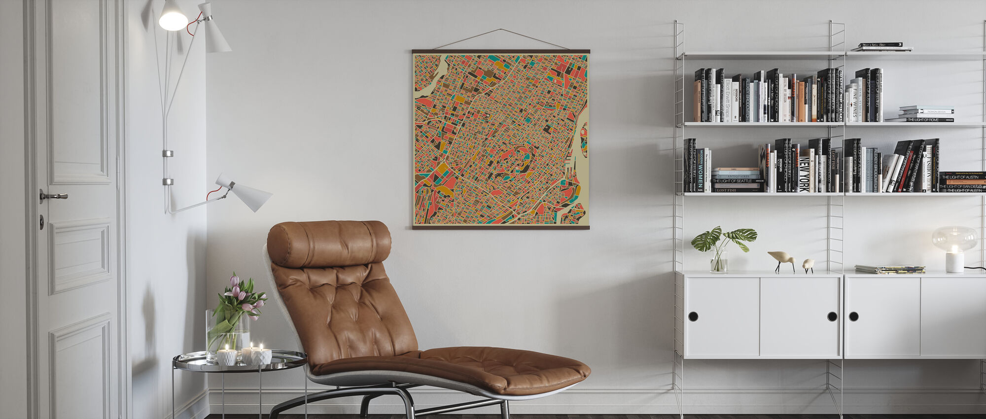 Multicolor Map - Montreal - Poster - Living Room