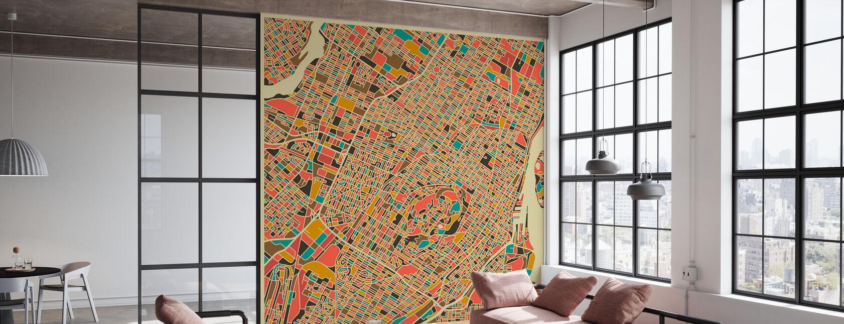 Mappa multicolore - Montreal - Carta da parati - Uffici