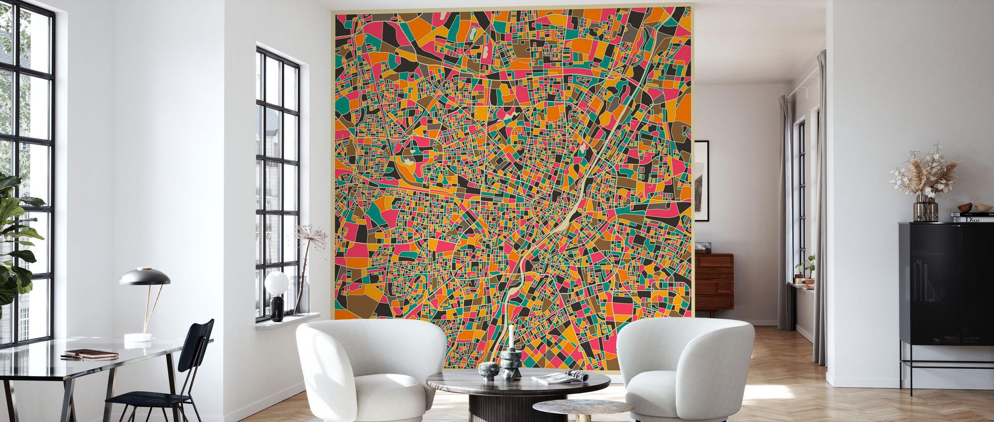 Multicolor Map - Munich - Wallpaper - Living Room