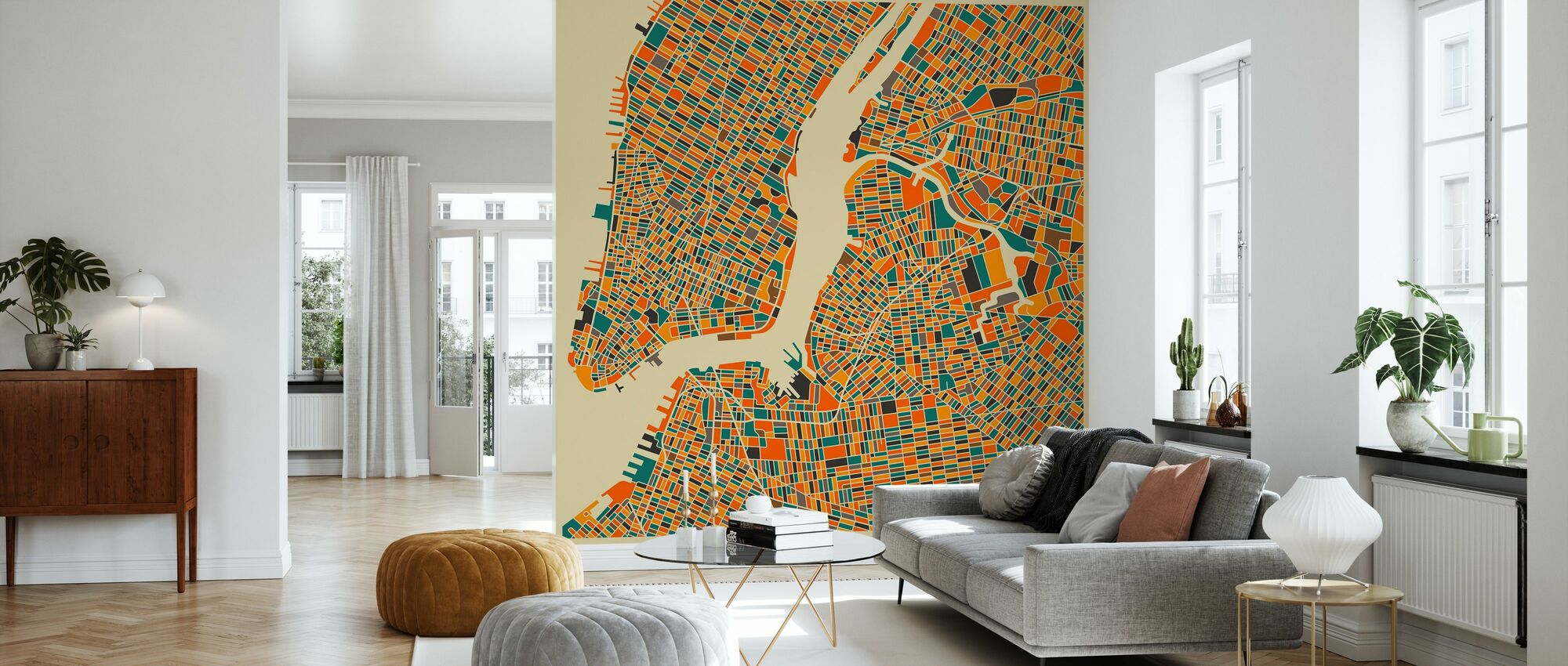 Multicolor Map - New York - Wallpaper - Living Room