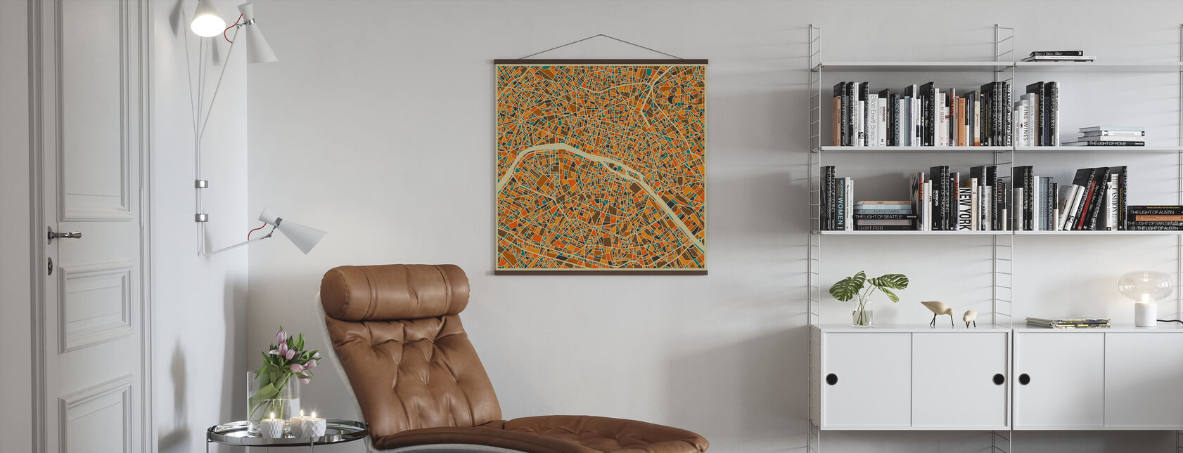 Multicolor Kaart - Parijs - Poster - Woonkamer