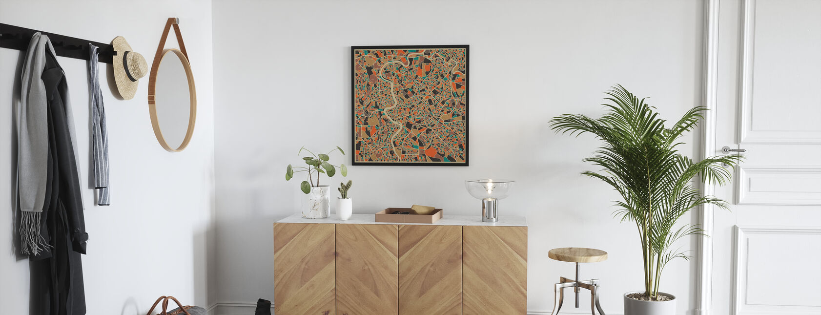 Monivärinen Kartta - Rooma - Juliste - Aula
