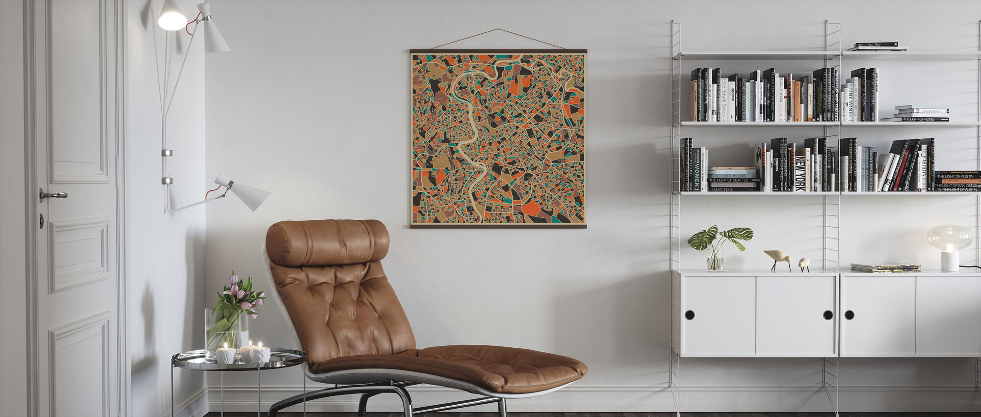 Multicolor Map - Rome - Poster - Living Room