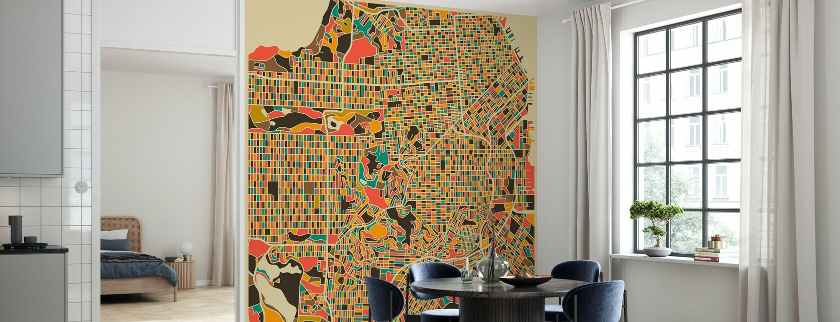Multicolor Map - San Francisco - Wallpaper - Kitchen