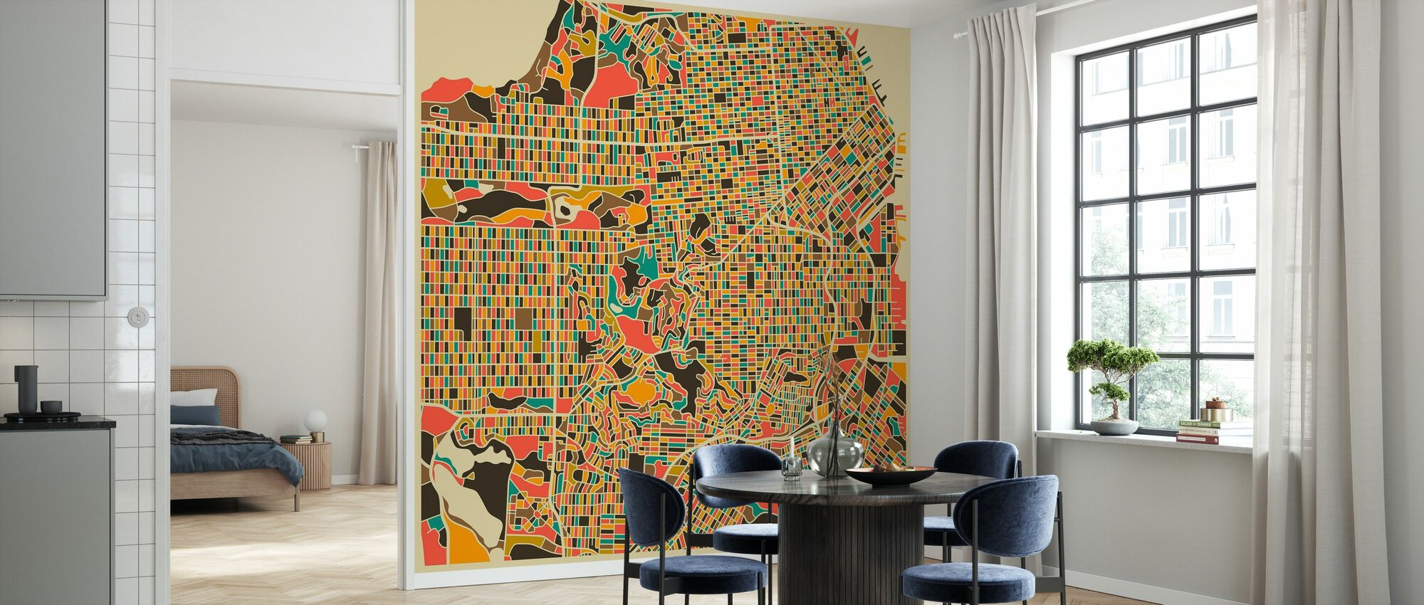 Multicolor Kaart - San Francisco - Behang - Keuken