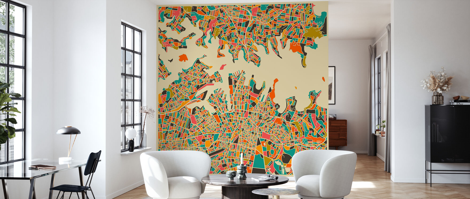 Multicolor Map - Sydney - Wallpaper - Living Room