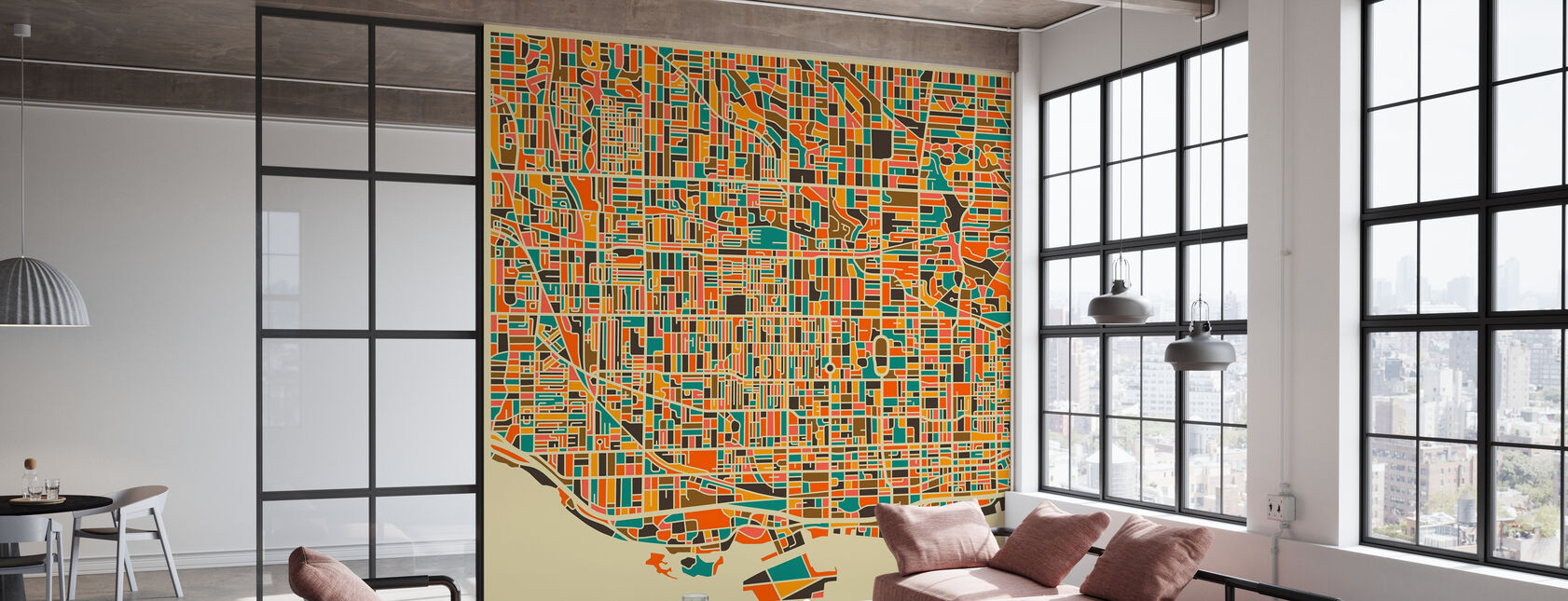 Multicolor Map - Toronto - Tapet - Kontor