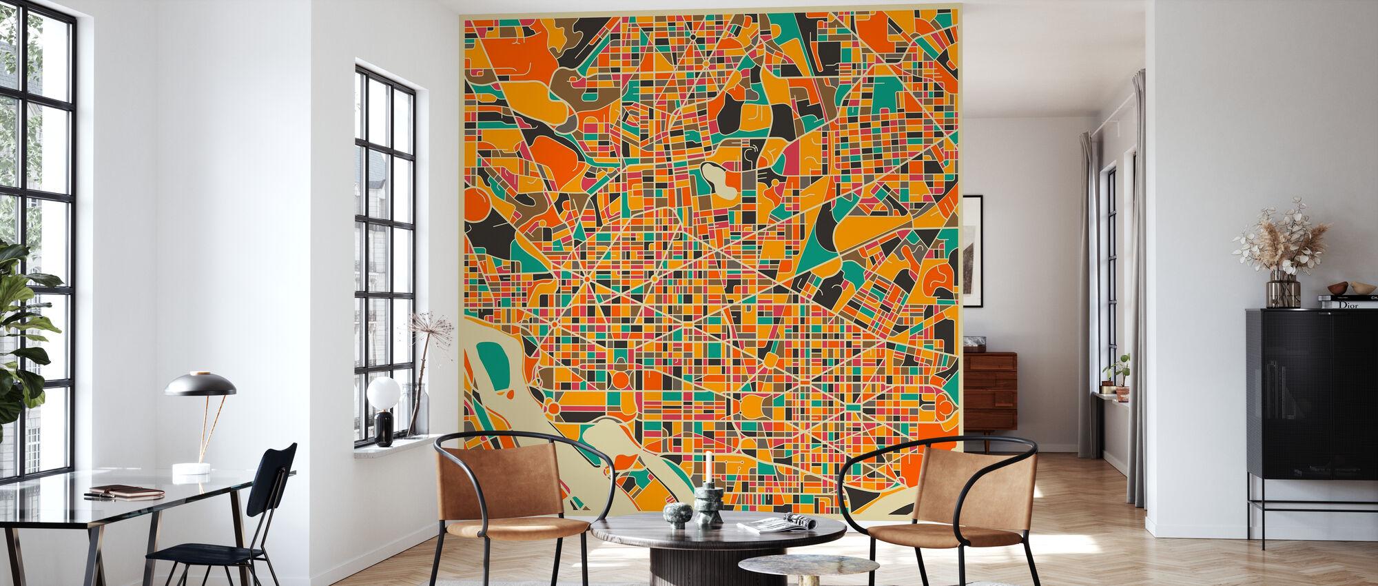 Multicolor Map - Washington - Wallpaper - Living Room