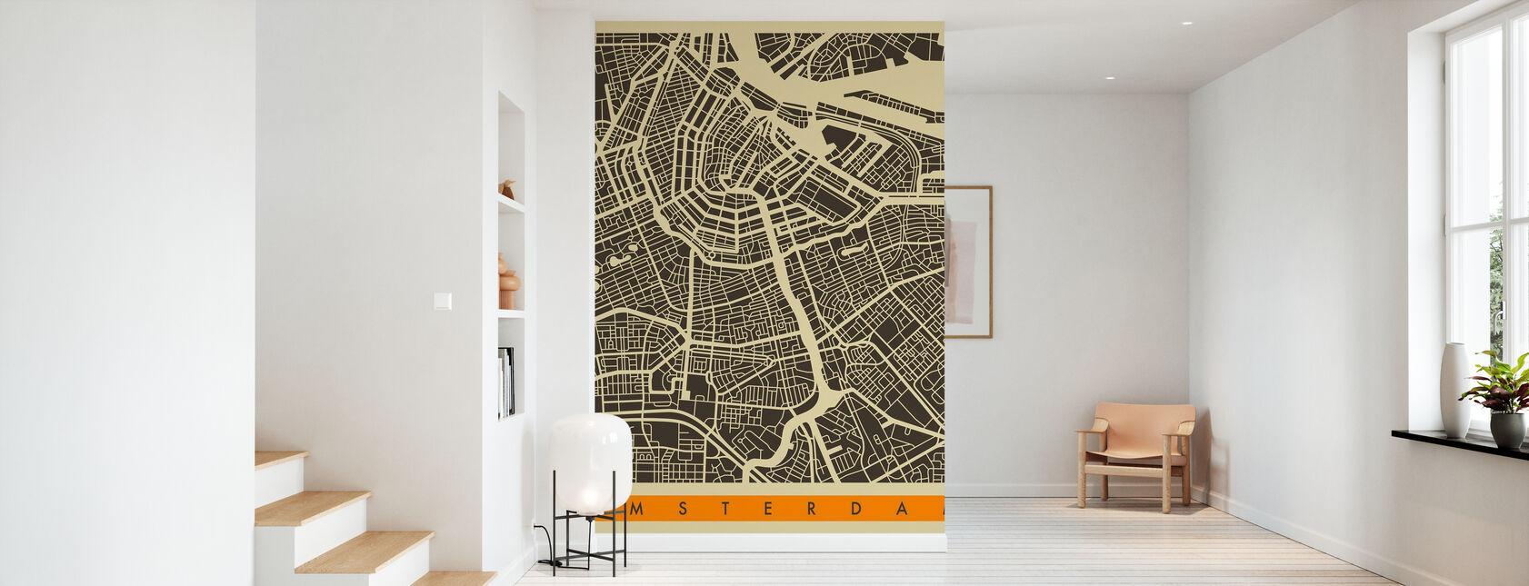 Stadsplan - Amsterdam - Behang - Gang