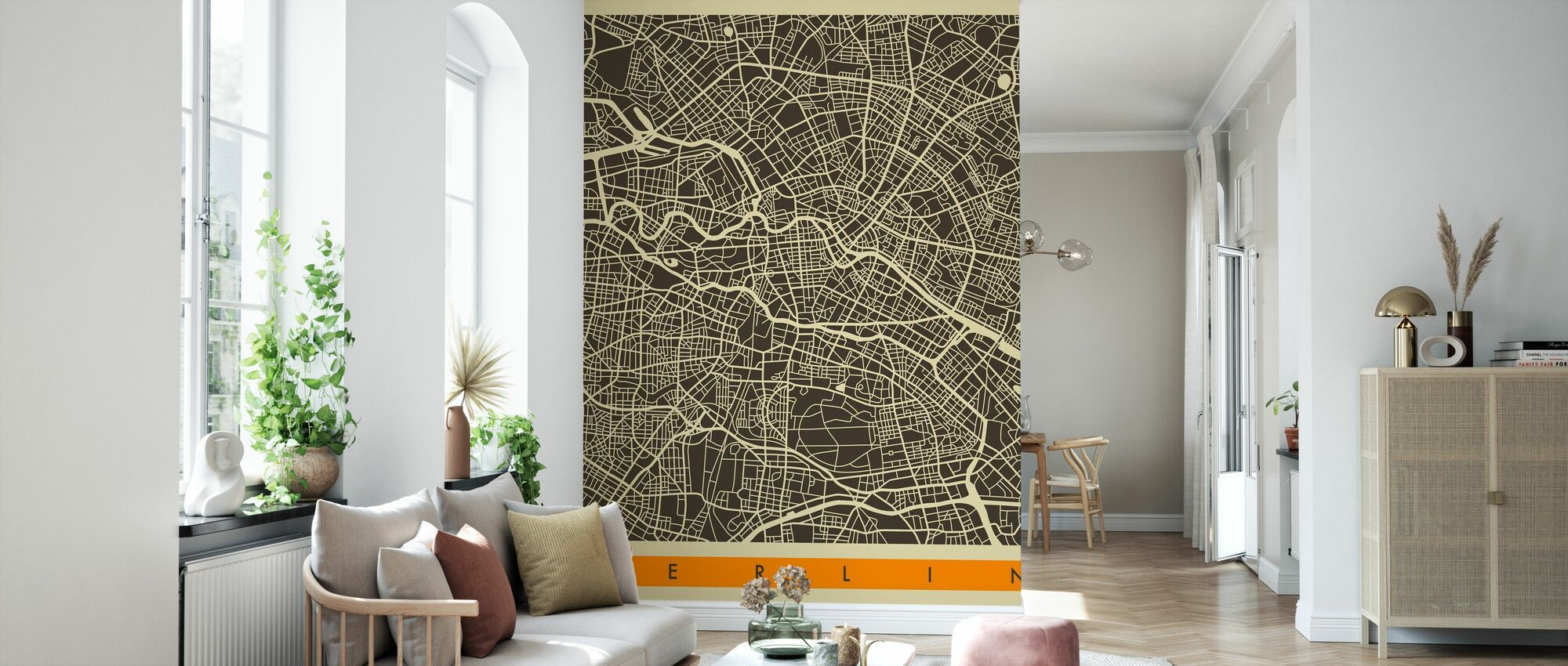 City Map - Berlin - Wallpaper - Living Room
