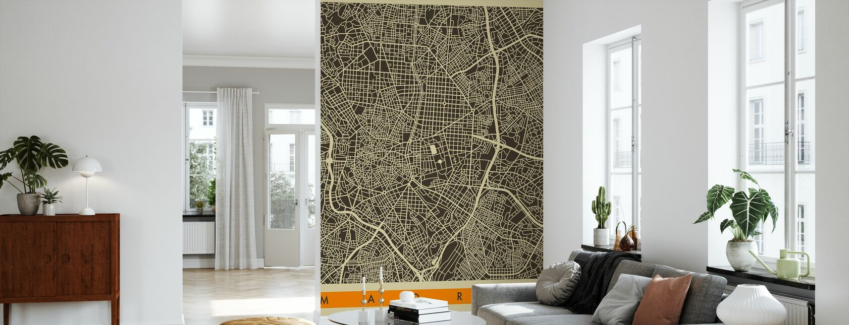 Mapa de la ciudad - Madrid - Papel pintado - Salón