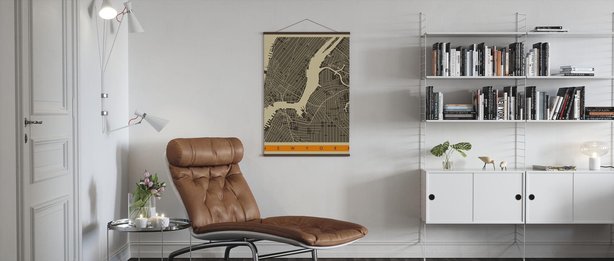 Kartta - New York - Juliste - Olohuone