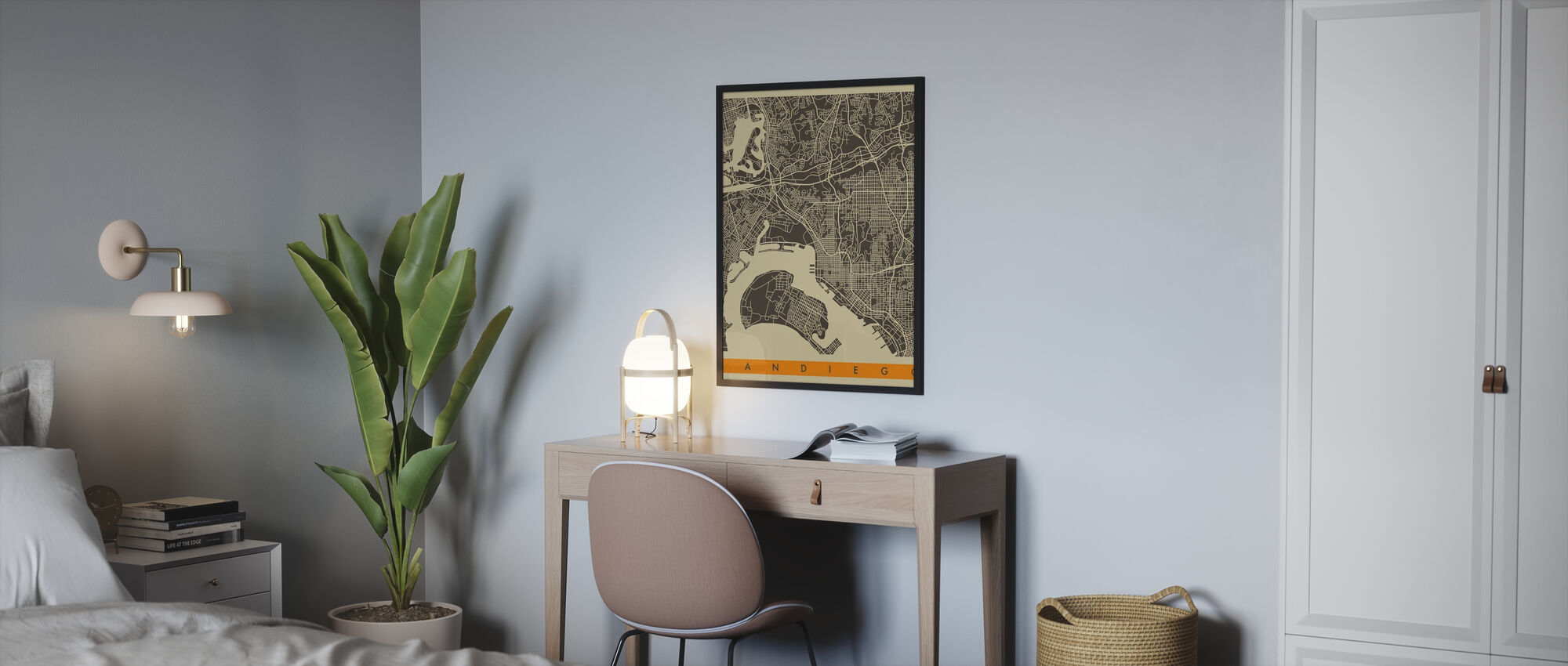 City Map - San Diego - Poster - Bedroom