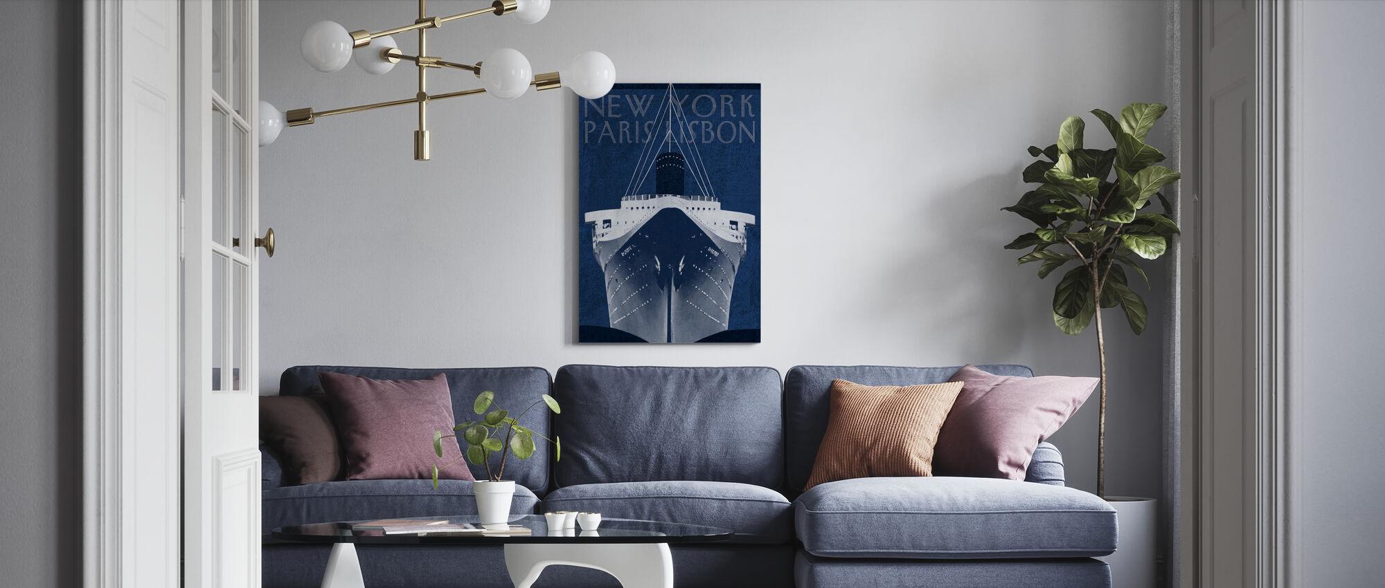 Passage Atlantique Blueprint - Canvas print - Living Room