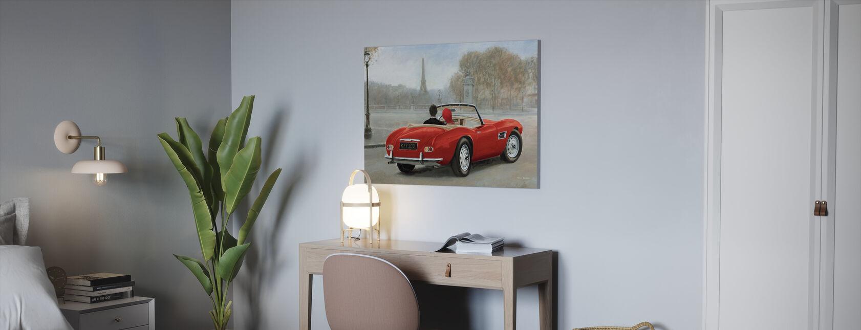 Ratsastus Pariisissa III Punainen auto - Canvastaulu - Toimisto