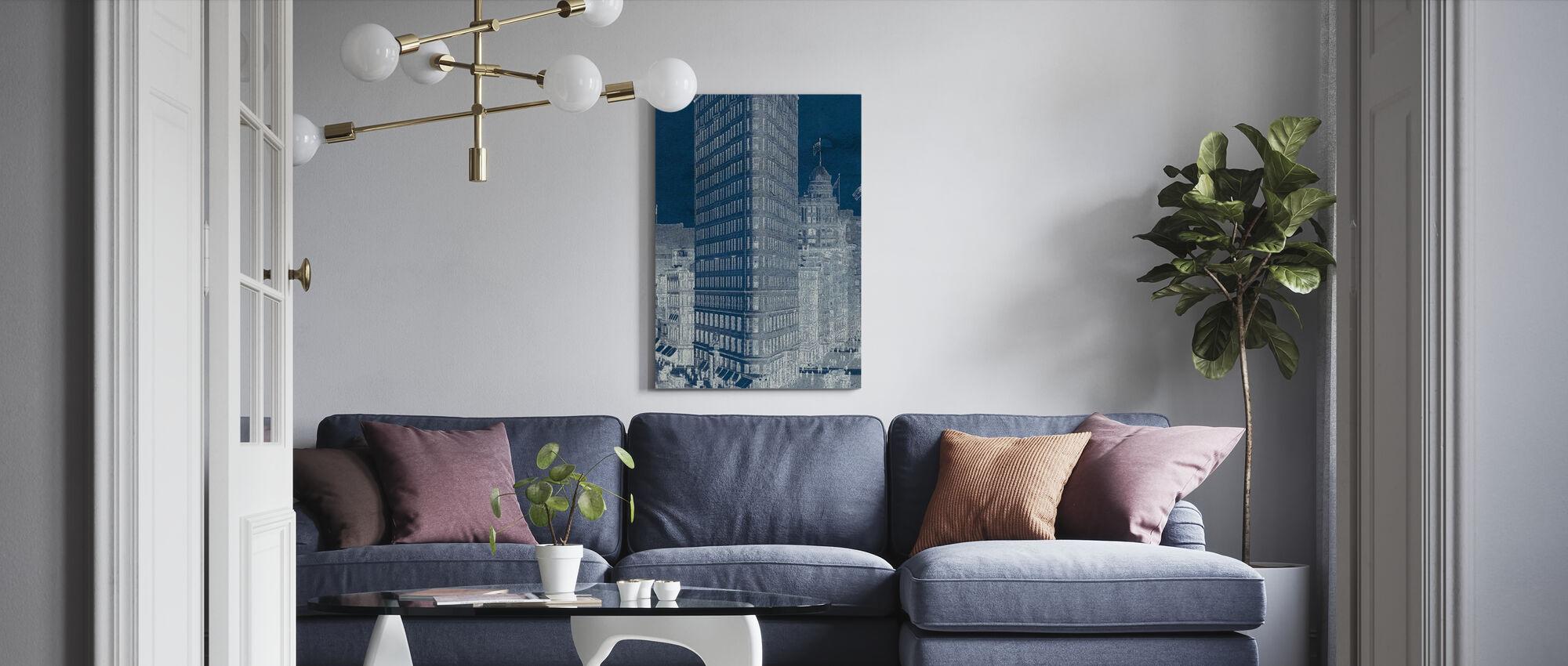 Flat Iron 1909 Blueprint Panel - Canvas print - Living Room