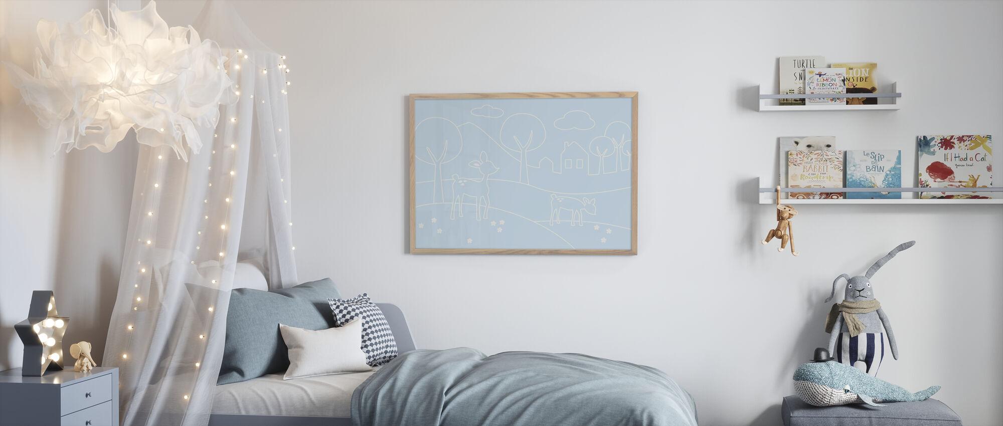 Herten wereld lijnen - lichtblauw - Ingelijste print - Kinderkamer