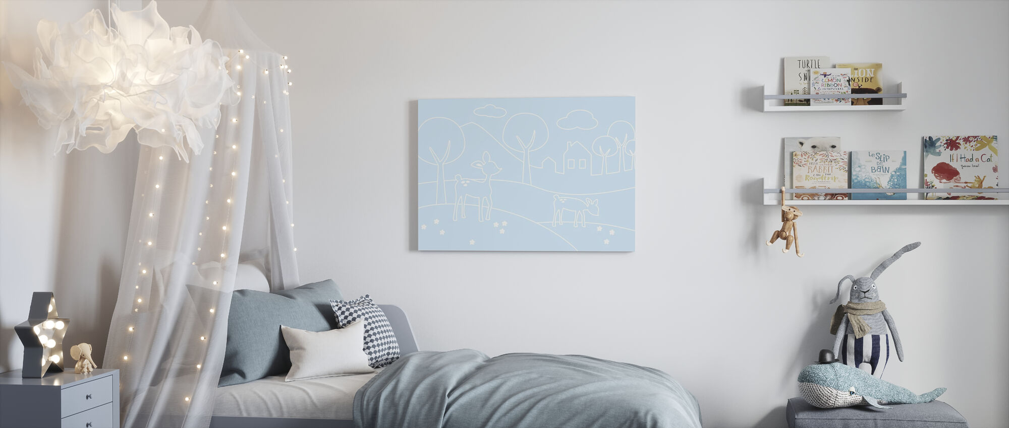 Deer World Lines - Light Blue - Canvas print - Kids Room