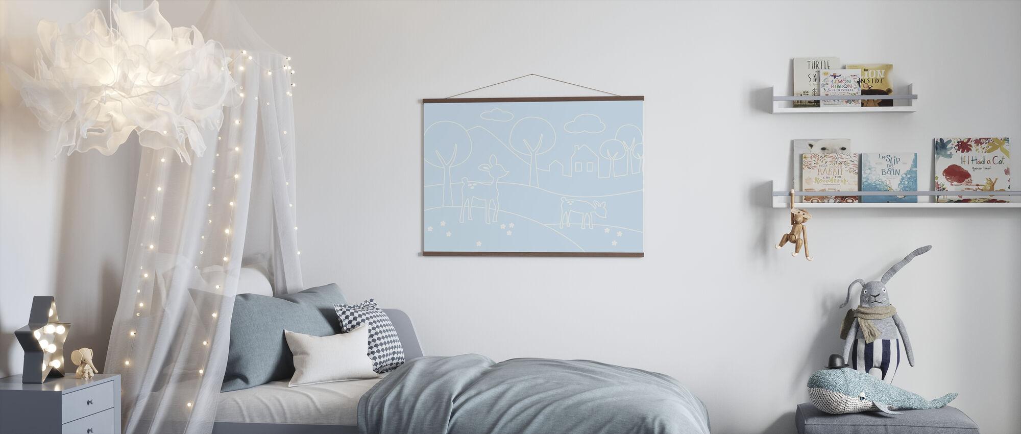 Deer World Lines - Light Blue - Poster - Kids Room