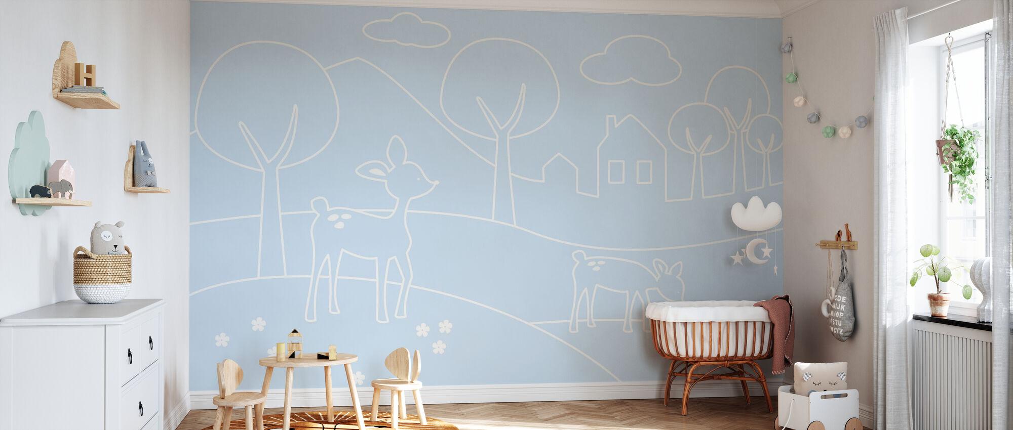 Herten wereld lijnen - lichtblauw - Behang - Babykamer