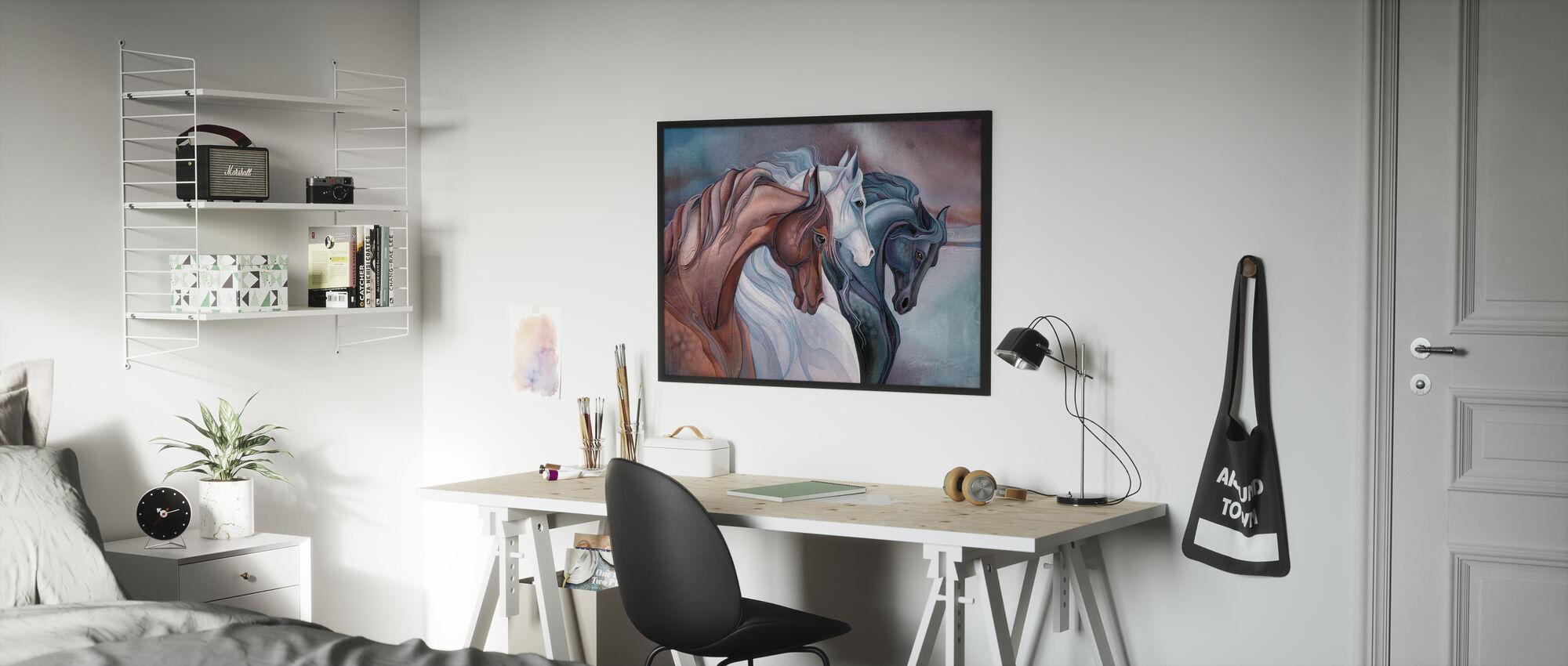 Elegante paarden - Ingelijste print - Kinderkamer