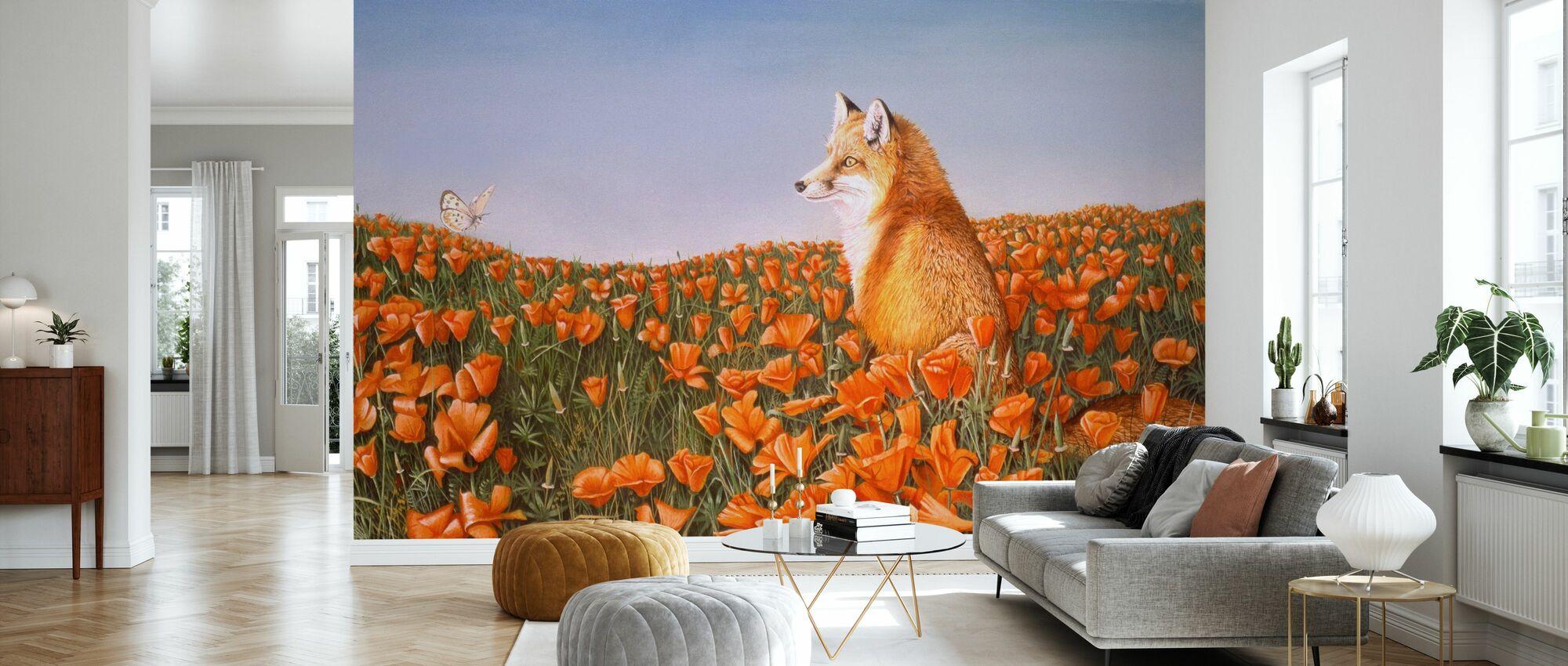 Fox og Butterfly På Nysgjerrige Petals - Tapet - Stue