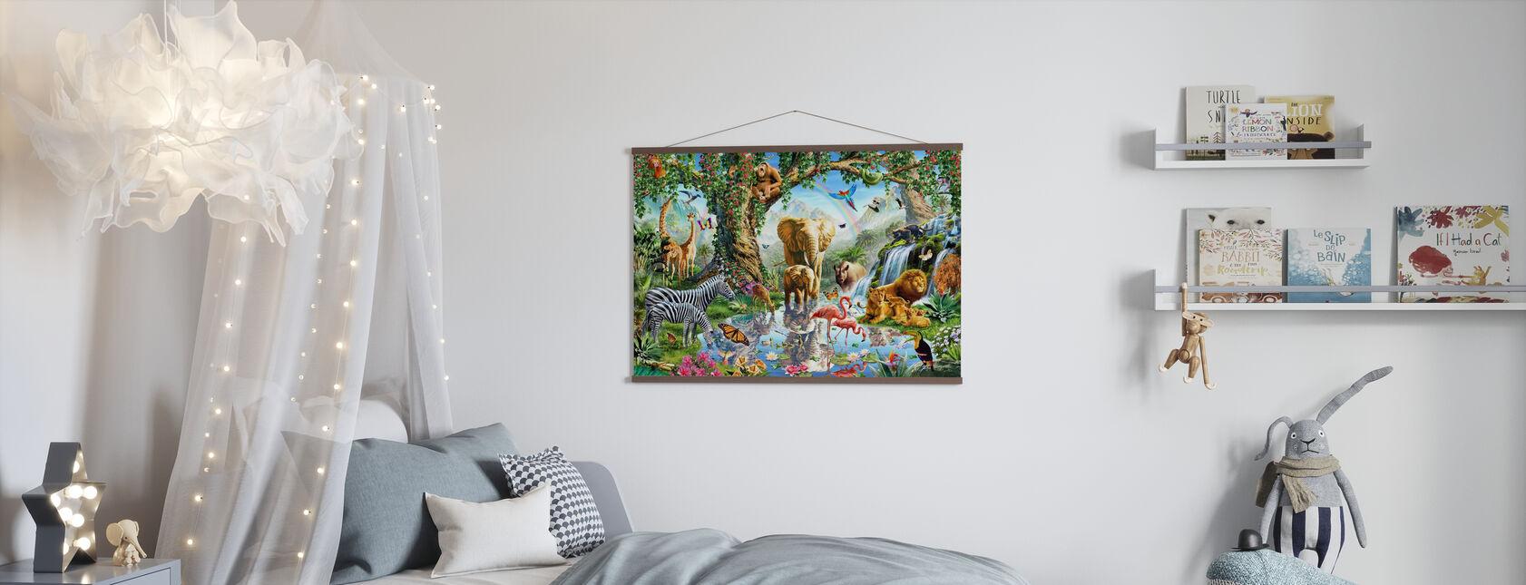 Jungle Lake met wilde dieren - Poster - Kinderkamer