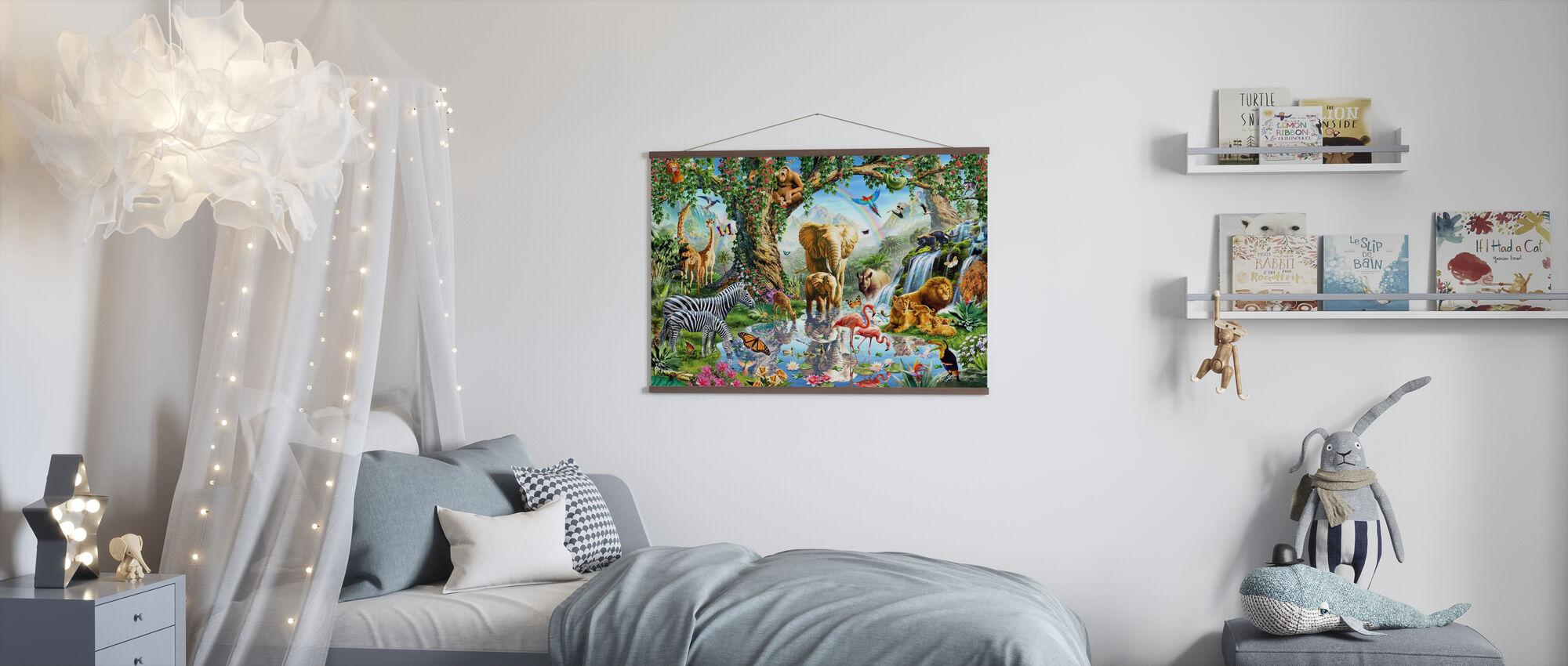 Dschungelsee mit wilden Tieren - Poster - Kinderzimmer
