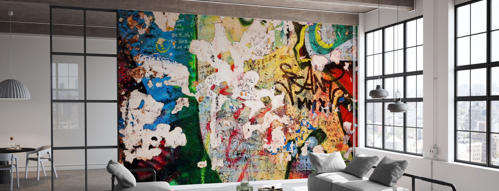Part of Berlin Wall with Grunge Graffiti - Potsdamer Platz - Wallpaper - Office
