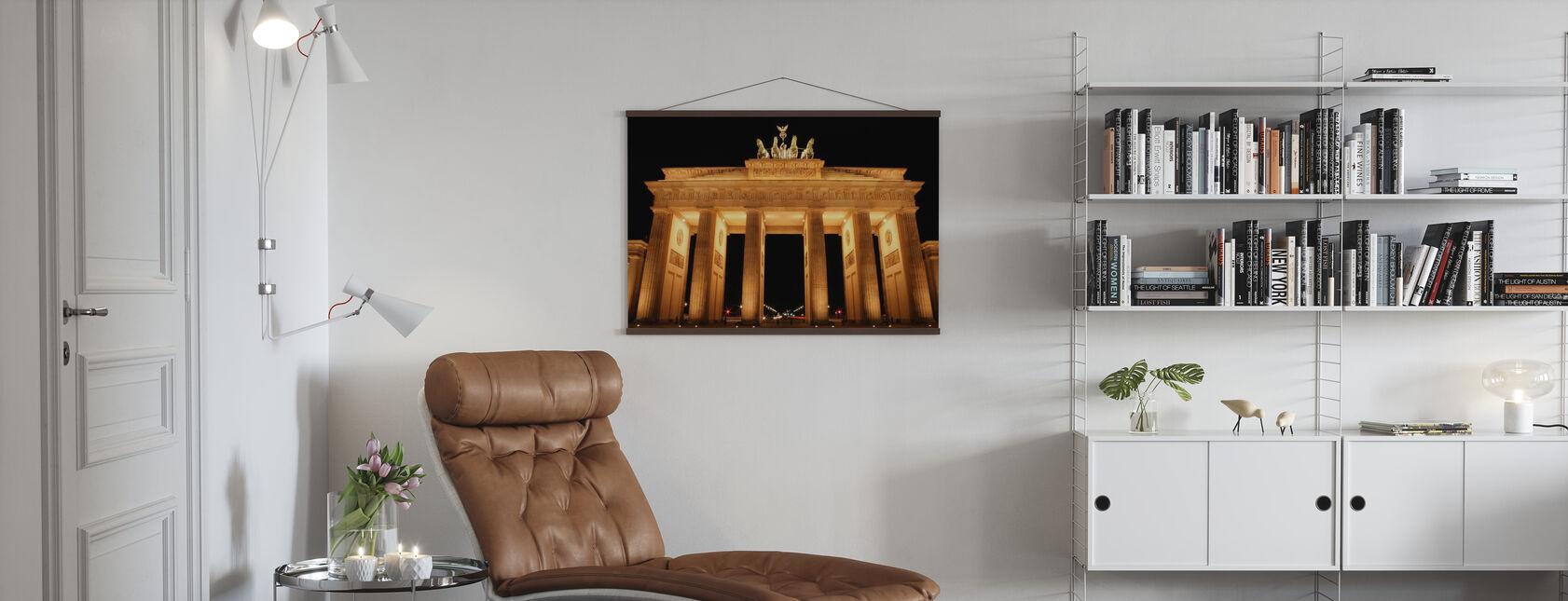 Brandenburger Tor bij Nacht - Poster - Woonkamer